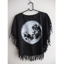 Moon space poncho fringes fashion stone wash t shirt m standard tops
