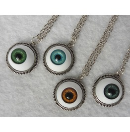 Eye Necklace 4 Colors Evil, Witch, Taxidermy, Eyeball