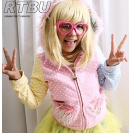 Kawaii Decora Multi Pastel Color Polkadot Fur Hooded Heart Pocket Jacket
