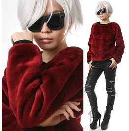 Punk Rock Teddy Sarpei Faux Fur Maroon Red Velvet Furry Sweatshirt Jumper