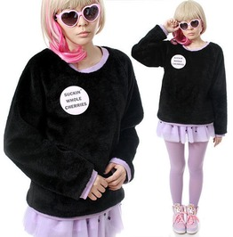 Punk Black Purple Hem Teddy Bear Faux Fur Velvet Furry Sweatshirt Jumper