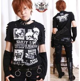 Punk Skull Shut Up! Patch Applique Short Sleeve Cotton T Shirt+Arm Warmers