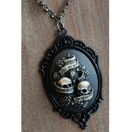 See No Evil Hear No Evil Speak No Evil Cameo Necklace Black