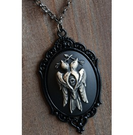 Branch And Arrow Two Headed Bird Cameo Necklace Black