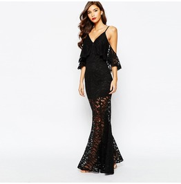 V Neck Off Shoulder Sheer Lace Fishtail Gown Dress