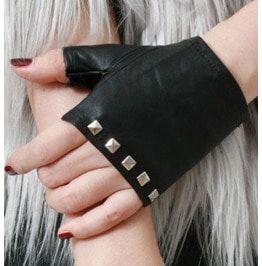 Black leather lambskin punk metal studded boxing biker fingerless gloves gloves