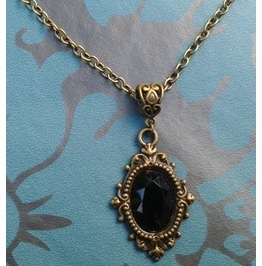 Gothic Steampunk Victorian Jewel Filigree Metal Pendant Necklace