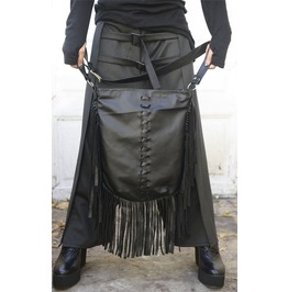 Fringe Genuine Leather Bag / Asymmetrical Black Bag / Leather Tote