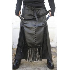 Fringe Genuine Leather Bag / Asymmetrical Black Bag / Leather Tote