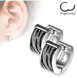 c6c2be8da Stainless Steel Black Silver Sand Glitter Zebra Print Huggie Earrings Pair