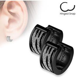 Stainless Steel Black Silver Sand Glitter Zebra Print Huggie Earring Pair