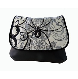 Black And White Goth, Black Widow Spider Kelsi Ii Cross Body Mini Messenger