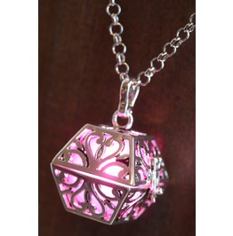 Pink Glowing Orb Pendant Necklace Box Locket