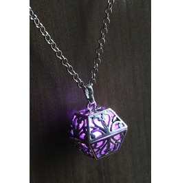 Purple Glowing Orb Pendant Necklace Box Locket