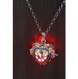 Red Glowing Orb Pendant Necklace Heart Locket