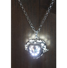 White Glowing Orb Pendant Necklace Heart Locket