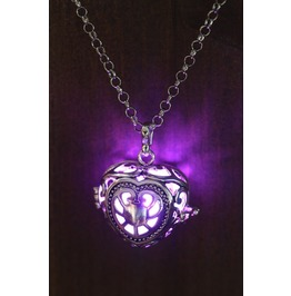 Purple Glowing Orb Pendant Necklace Heart Locket