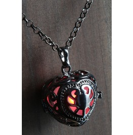 Red Glowing Orb Pendant Necklace Heart Locket Black