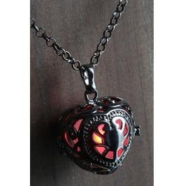 Red Glowing Orb Pendant Necklace Heart Locket Gun Metal Black