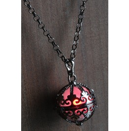 Red Ornate Glowing Orb Pendant Necklace Locket Black