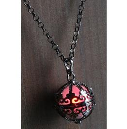 Red Ornate Glowing Orb Pendant Necklace Locket Gun Metal Black