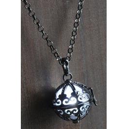 White Ornate Glowing Orb Pendant Necklace Locket Gun Metal Black