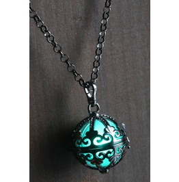 Teal Ornate Glowing Orb Pendant Necklace Locket Black
