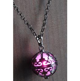 Pink Ornate Glowing Orb Pendant Necklace Locket Gun Metal Black