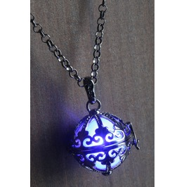 Blue Ornate Glowing Orb Pendant Necklace Locket Black