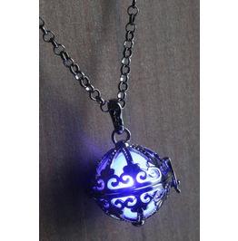 Blue Ornate Glowing Orb Pendant Necklace Locket Gun Metal Black
