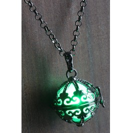 Green Ornate Glowing Orb Pendant Necklace Locket Black