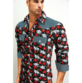 Black Skull Rose Pattern Western Long Sleeve Slim Fit Snap Shirt S M