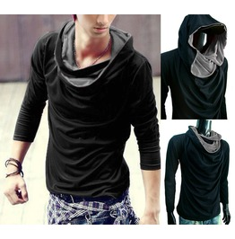 New Men Black Cowl Neck Hoodie Long Sleeve Shirt Top Tee S M L Xl Xxl