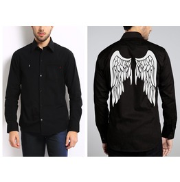 New Men Angel Wings Graphic Black Long Sleeve Shirt Top Size S