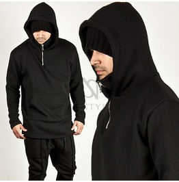 Black Knit Cotton Kangaroo Pocket Accent Turtle Hoodie 70