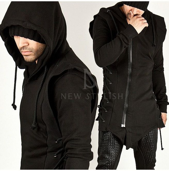 Witchcraft Punk Gothic Zip up Hoodie O Ring Eyelt Long