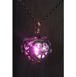 Pink Heart Glowing Orb Pendant Necklace Locket Antique Bronze