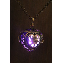 Purple Heart Glowing Orb Pendant Necklace Locket Antique Bronze