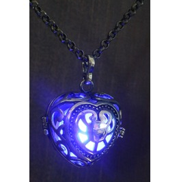 Blue Heart Glowing Orb Pendant Necklace Locket Antique Bronze