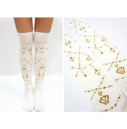 Baroque Sweet Princess Knee High Socks White