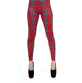 Womens Tartan Red Leggings (Medium/Large) By Pamela Mann