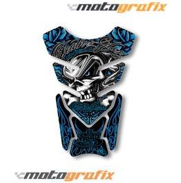 Motografix Death Or Glory Tankpad Motorbike Body Protection Skull Blue
