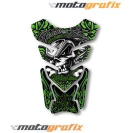 Motografix Death Or Glory Tankpad Motorbike Body Protection Skull Green