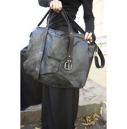Extravagant Leather Belt Bag / Maxi Black Genuine Leather Bag / Black Bag