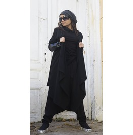 Black Loose Long Vest / Leather Oversize Cardigan / Extravagant Leather Top