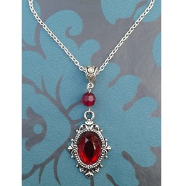 Gothic Steampunk Victorian Red Jewel Filigree Metal Pendant Necklace