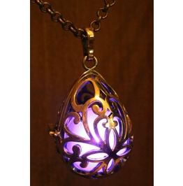 Purple Drop Glowing Orb Pendant Necklace Locket Antique Bronze