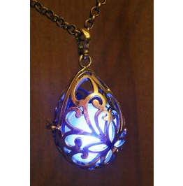 Blue Drop Glowing Orb Pendant Necklace Locket Antique Bronze