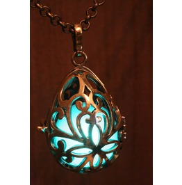 Teal Drop Glowing Orb Pendant Necklace Locket Antique Bronze