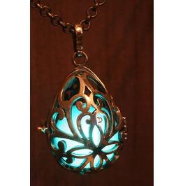 Teal Drop Glowing Orb Pendant Necklace Locket Antique Bronze